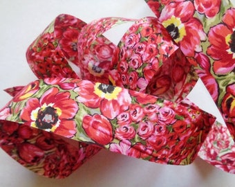 """Red Floral Cotton Ribbon Trim, Red, 1 3/8"""" inch wide, 1 yard, For Victorian & Romantic Crafts"""