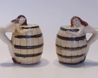 Vintage Bare Women and Barrel Salt and Pepper Shakers Mid Century Kitchen Collectible Made in Japan