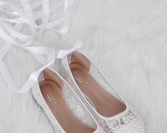 Women Wedding Shoes - WHITE LACE round toe ballerina flats - For Brides and Bridesmaids Shoes