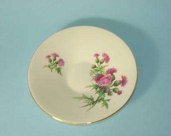 Vintage Saucers - Royal Winton Grimwades - Scotch Thistle - Purple Flower - Retro Servingware 1930s