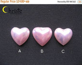 SALE Violet Pink Heart Mabe Pearl 17x17mm