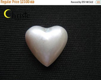 SALE Organic White Heart Mabe Pearl Cabochon 16x16mm
