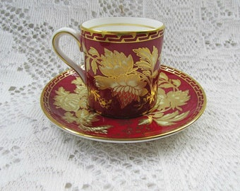 Ruby Tonquin Wedgwood cup and saucer demitasse collectible English bone china