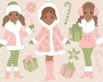 African American Christmas Girls Clipart - Digital Vector, Xmas, Christmas Girl Clip Art