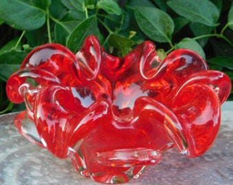 Murano Bowl Red Fluted Chunky Heavy Bowl, Small Red Fluted Bowl, Candy Dish, Red/Clear Mixed Bowl, Vintage Dishes, Vintage Kitchen :)*