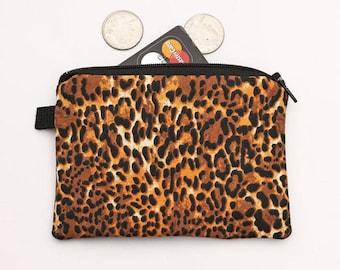 Leopard Coin Purse, Zipper Coin Bag, Zippered Phone Pouch, Animal Print Makeup Bag, Womens Card Wallet - brown animal skin cheetah