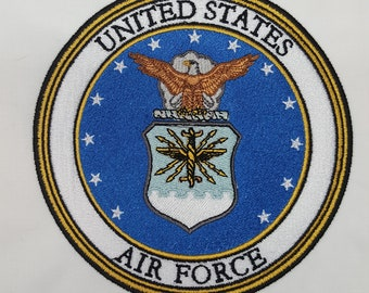 Embroidered United States Air Force 6 inch  Quiltblock Military Patch