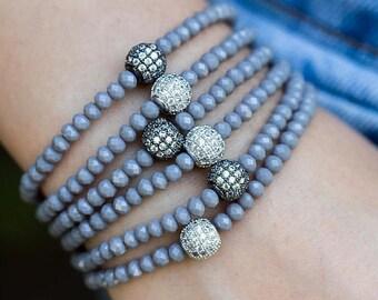 SPRING SALE Crystal Bracelet, Stacking Bracelet, Beaded Bracelet, Stretch Bracelet, Stackable Bracelet, Silver Bracelet, Dainty Bracelet