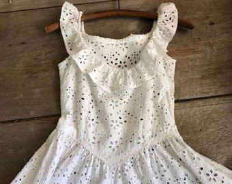 Vintage White Eyelet Lace Dress, Mid Century, Full Length, Sleeveless, Wedding, Summer Dress