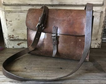 Swiss Army Leather Satchel, Messenger Bag, Woody Brown Crossbody, Document Carrier Briefcase