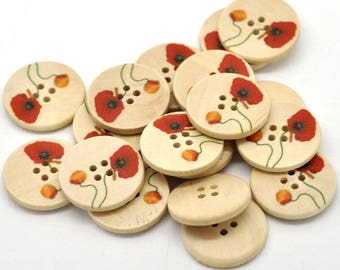 "Wood Sewing Buttons Scrapbooking 4 Holes Round Multicolor Flower Pattern 25mm(1"") Dia,   (B16372)"