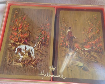 "Hallmark Playing Cards Hunter with Dog ""Sportsman"""