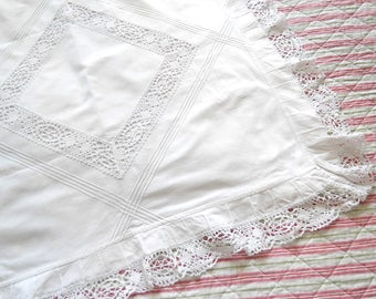 antique french pillow case white french pillow sham vintage pillow case vintage bedding lace pillow cover