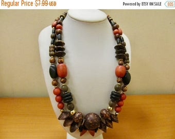 ON SALE Retro Chunky Wooden Beaded Double Strand Necklace Item K # 2327