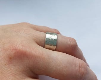 Extra-Wide Textured Ring. Size 9 1/2. Tarnish Resistant Argentium Sterling Silver. 935 silver. Free shipping.