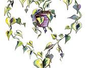 Watercolor Pothos Heart  ...
