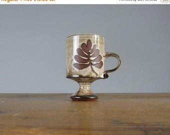 SALE 30% OFF Vintage coffee cup by Briglin, pedestal cup, fern design, mid century studio pottery, english ceramics