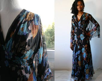 Vintage 1970's Maxi Dress, chiffon silk  with floral pattern printed, long sleeves