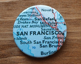 Pinback Button, San Francisco, Ø 1.5 Inch Badge, Atlas, Travel, vintage, fun, typography, whimsical