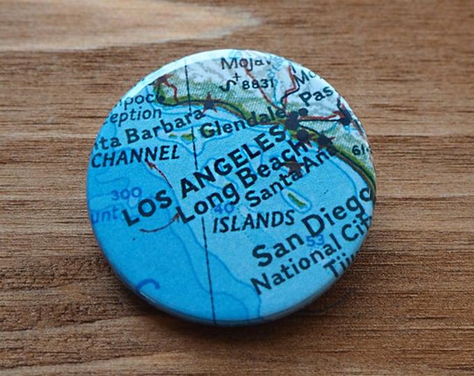 Pinback Button, Los Angeles, USA, Ø 1.5 Inch Badge, Atlas, Travel, vintage, fun, typography, whimsical