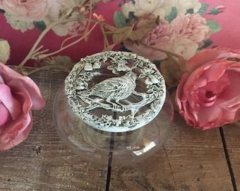 Vintage Bird Pewter Lidded Potpourri Jar - Shabby Chic - Painted white