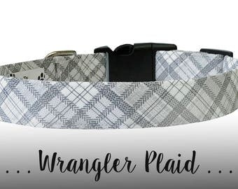 Gray and White Plaid Dog Collar; Stripe Dog Collar: Wrangler Plaid