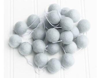 Blue Felt Ball Garland for Boys Room, Pom Pom Garland, Nursery Decor, Felt Ball Bunting, Baby Shower Decor, Light Blue, Boys Room Garland
