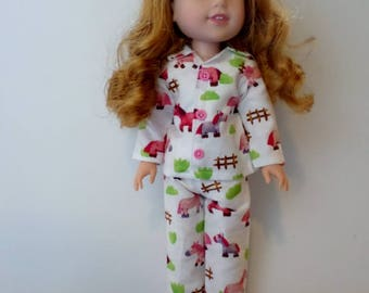Flannel horse/ pony pajamas or sleepwear  American made to fit 14 1/2 inch Wellie Wisher dolls