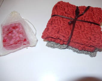 set of 2 crochet cotton wash cloths / face cloths / dish cloths red & grey with strawberry scented homemade soap