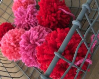Red and Pink Pom Pom Garland