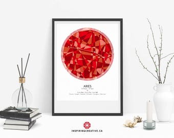 ARIES Zodiac Constellation Poster - Abstract Modern Art Gallery Quality Giclée Print- Astrology and Horoscopes art print- Birthday gift