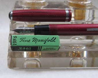Restored Esterbrook SJ Fountain Pen Red Marble with NOS 9461 Fine Manifold  Nib Vintage 1950's