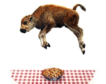 "Baby Bison Jumps Over Pie - Giclee Print of Original Fine Art watercolor painting - 11"" x 14"""