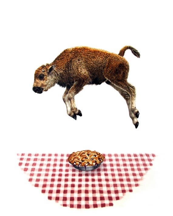 """Baby Bison Jumps Over Pie - Giclee Print of Original Fine Art watercolor painting - 11"""" x 14"""""""