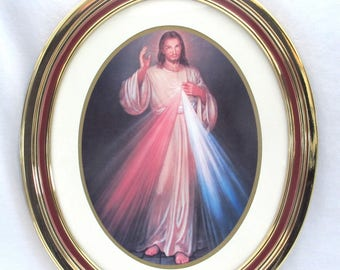 Vintage Framed Jesus Wall Hanging