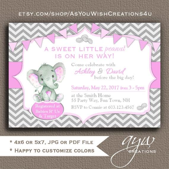 Elephant baby shower invitation girl little peanut elephant baby il570xn filmwisefo Images