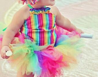 Rainbow Tutu top, corset top