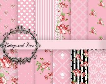 SALE Digital Shabby Chic: Digital Background Paper, Floral Digital Paper, Damask, Polka Dot, Printable Paper, Instant Download  No 1243