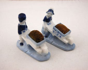 1950s Vintage Dutch boy and girl  Pin Cushions - Made in Japan 50s flo blue - Japan Figurine