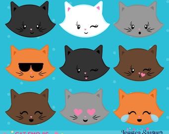 INSTANT DOWNLOAD - Cat Emoji Clipart and Vectors