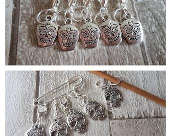 Stitch markers, sugar skulls themed stitch markers, sugar skulls progress keepers, knitting stitch markers, crochet stitch markers.