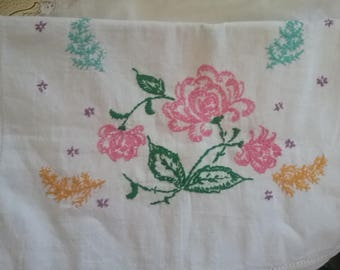 Embroidered Dresser Scarf- Table Runner-Vintage Handcrafted Linens
