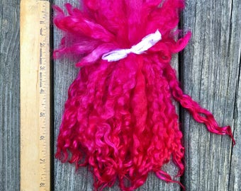 Teeswater Locks, Long, Dyed, Tailspinning, 1 ounce, Doll Hair, Spin, Felt, Fleece, Ruby Slippers