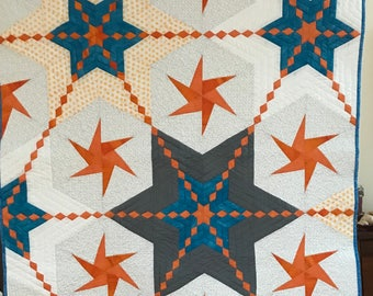 Under the sea Quilt free shipping stars modern wallhanging throw blanket baby adult toddler  diamond orange gray blue white patchwork