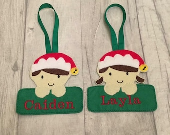 Personalised boy and girl elf decorations