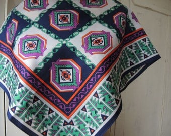 Vintage 1970s polyester graphic abstract geometric southwest style 26 x 27 inches