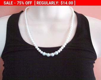 Faux pearl and blue rs bead necklace, statement necklace, hippie necklace, vintage estate jewelry