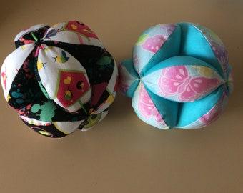 Amish puzzle ball. Montessori puzzle ball. Fabric puzzle ball