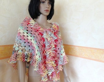 Covers shoulders, multicolor women scarf hand crocheted
