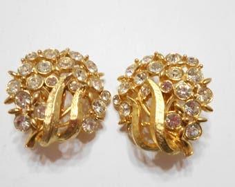 Vintage Emmons Clear Rhinestone Clip Earrings (5613)
